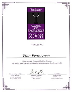 Villa Francesca - Wine Enthusiastic - Award Of Excellence 2008