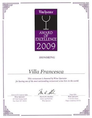 Villa Francesca - Wine Enthusiastic - Award Of Excellence 2009