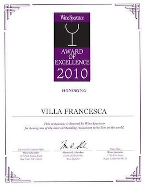Villa Francesca - Wine Enthusiastic - Award Of Excellence 2010