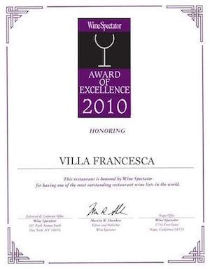 Villa Francesca - Wine Enthusiastic - Award Of Excellence 2010