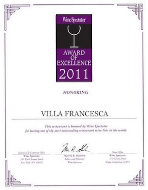 Villa Francesca - Wine Enthusiastic - Award Of Excellence 2011