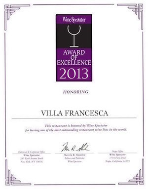 Villa Francesca - Wine Enthusiastic - Award Of Excellence 2013