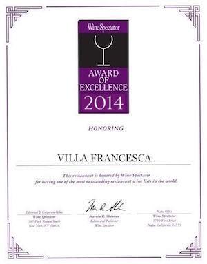 Villa Francesca - Wine Enthusiastic - Award Of Excellence 2014