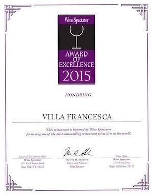 Villa Francesca - Wine Enthusiastic - Award Of Excellence 2015