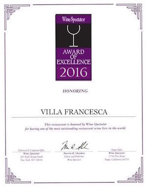 Villa Francesca - Wine Enthusiastic - Award Of Excellence 2016