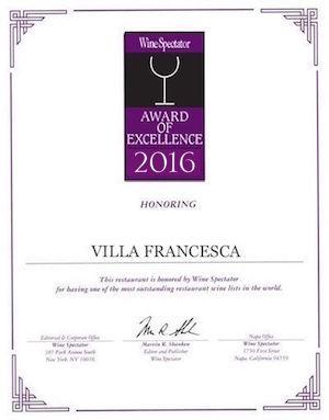 Villa Francesca - Wine Enthusiastic - Award Of Excellence 2016
