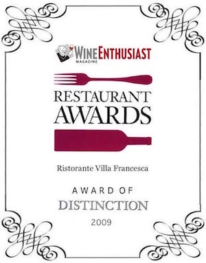 Villa Francesca - Wine Enthusiastic - Restaurant Awards 2009